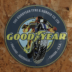 Vintage Goodyear Tire And Rubber Manufacturing Company Porcelain Gas And Oil Sign