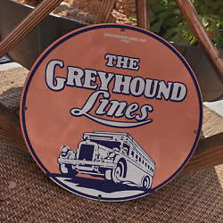 Vintage 1932 The Greyhound Lines Transport Company Porcelain Gas And Oil Sign