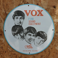 Vintage 1964 Vox Fine Sound Equipment And039and039the Beatlesand039and039 Porcelain Gas And Oil Sign