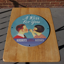 Vintage 1920 Hershey's Mulk Chocolate Kisses Porcelain Gas And Oil Pump Sign