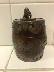 Antiques Asian Mahogany Wood Spice Jar With Brass Design