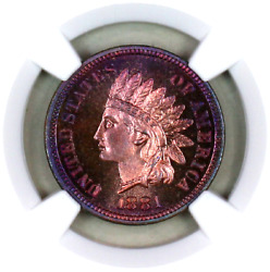 1881 Pf66+ Rb Ngc Indian Head Penny Premium Quality Proof Example