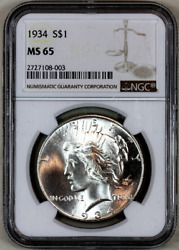 1934-p Ms65 Ngc Peace Silver Dollar Premium Quality Superb Eye Appeal