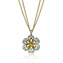 Luca Carati 18k Yellow And White Gold Diamond Sapphires Pendant Necklace 0.66cttw