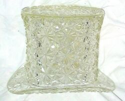 6 Tall 8 Across Large Hat Vase Mint Vintage Htf Clear Glass Buttons Bows Huge