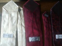 Lot Of 2 Versace Ties Burgundy / Off - White Medusa Head Silk Made In Italy