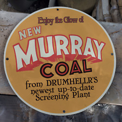 Vintage Murray Energy Coal Mine Screening Plant Porcelain Gas And Oil Pump Sign