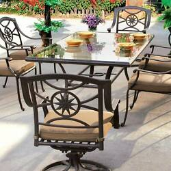 Darlee Ten Star 7 Piece Cast Aluminum Patio Dining Set With Glass Top Table