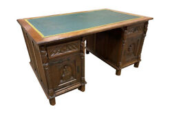 19th Century French Gothic Partners Desk, Leather Top, Oak, 19th Century