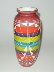 Curras Brothers 1996 Art Pottery Vase 8 1/2 Colorful
