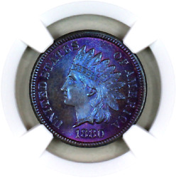 1880 Ms66 Bn Ngc Indian Head Penny Premium Quality Monster Toning