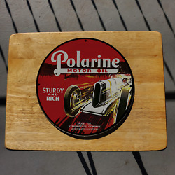 Vintage Polarine ''sturdy And Rich'' Motor Oil Porcelain Gas And Oil Pump Sign