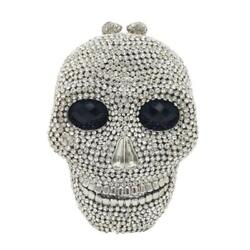 Halloween Skull Clutch Women Silver Evening Bags Party Cocktail Crystal Purses $75.90