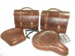 New Antique Brown Leather Saddle Bag And Front Rear Seat Fit For Royal Enfield 350