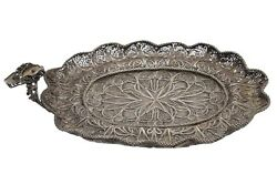 Rare Antique Russian Imperial Silver Filigree Tray, August Holmstrom