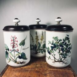 Villeroy And Boch White Botanical Canisters Set Ceramic W/ Wood Lids