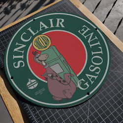 Vintage 1965 Sinclair Gasoline Oil And Refining Co. Porcelain Gas And Oil Pump Sign