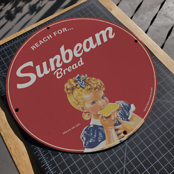 Vintage 1943 Sunbeam Bread Quality Bakers Of America Porcelain Gas And Oil Sign