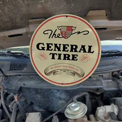 Vintage 1943 The General Tire And Rubber Company Porcelain Gas And Oil Pump Sign