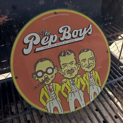 Vintage Pep Auto Supply Company ''the Pep Boys'' Porcelain Gas And Oil Pump Sign