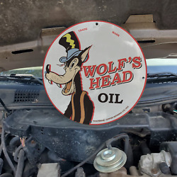 Vintage 1942 Wolfand039s Head Oil Empire Refining Co. Porcelain Gas And Oil Pump Sign