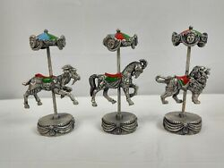 Vintage Enesco Pewter Carousel Animals Goat Horse Lion Lot Of 3 Figurines