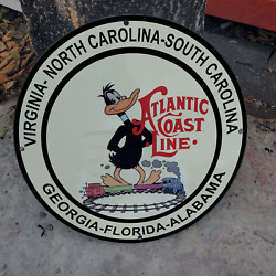 Vintage Atlantic Coast Railway Line And039and039daffy Duckand039and039 Porcelain Gas And Oil Sign