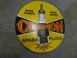 Porcelain Champion Spark Plug Enamel Sign Size 30 Inches Double Sided