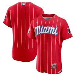 Menand039s Miami Marlins Red 2021 City Connect Baseball Jersey S-4xl