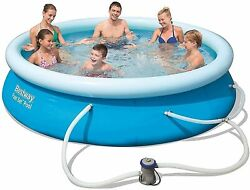 Bestway 10' X 30 Fast Set Inflatable Above Ground Swimming Pool W/ Filter Pump