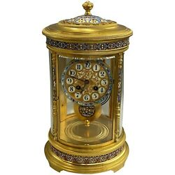 Antique French Gilt Champlevé Table Or Mantel Clock With Original Pendulum