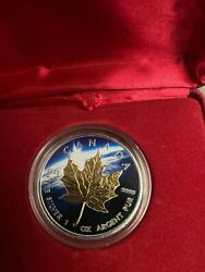 2014 1oz Silver Coin Canadian Maple Leaf Color And 24k Gold Glided Earth Edition
