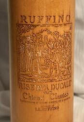 Vintage Wood Ruffino Chianti Classico Engraved Wine Bottle Pepper Mill Grinder