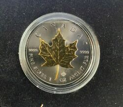 2015 1oz Canadian Maple Leaf 0.999 Silver Coin Ruthenium 24k Pure Gold Plated