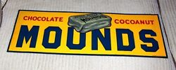 1930's Vintage Tin Embossed Mounds Candy Bar Sign, See My Porcelain Neon Signs