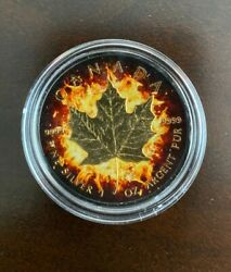 2014 1oz Canadian Burning Maple Leaf Ruthenium And Pure Gold Plated Silver Coin