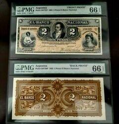 1883 Argentina Banco Nacional 2 Peso S677p Front And Back Proof Pair Pmg 66