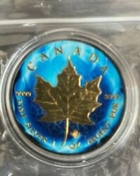 2014 1oz Canadian Maple Leaf 24k Colorand Pure Gold Plated 0.999 Silver Coin