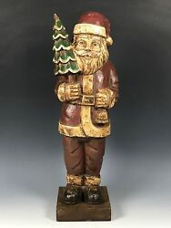 Colored Handcarved Wood Santa Claus Paper Mache Mold