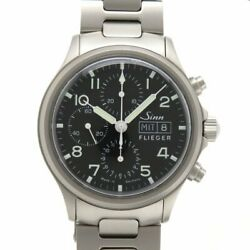 Sinn 358 Flieger Chronograph Automatic Day-date Steel On Bracelet Box And Paper