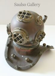 Antique Copper Diving Helmet Replica 9 Inches Tall For Desk From Prominent