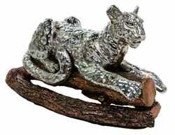 Rare Large And Heavy 999 Silver Leopard Statue