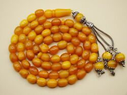 Old Real Antique Rare Natural Amber Necklace / Rosary / Prayer Beads / 43 Grams