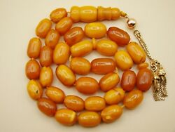 Old Real Antique Rare Natural Amber Necklace / Rosary / Prayer Beads / 33 Grams