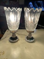 Pair Vintage Torchiere Bordoir Lamps-thick Very Heavy Glass Shades-marble Bases