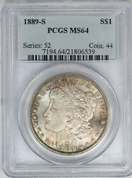 1889-s Pcgs Silver Morgan Dollar Ms64 Neon Green/pink Reverse Toned Better Date