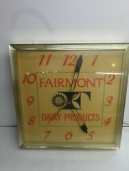 Vintage Fairmont Dairy Products Electric Wall Clock - Works Great