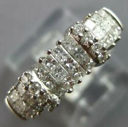 .85ct Diamond 14kt White Gold Round And Princess 3 Row Invisible Anniversary Ring