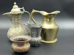 Lot Of Assorted Vintage Copper And Brass Pitchers And Bowls 4 Pices