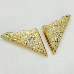 Crumrine Sterling Silver 22k Yellow Gold Plated Collar Shirt Tips 1982 Vintage